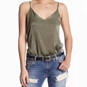 Tops - Soprano Green Satin V-Neck Bodysuit Tank Top
